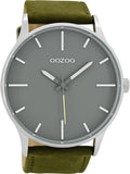 OOZOO Τimepieces greengrey Leather Strap C8553