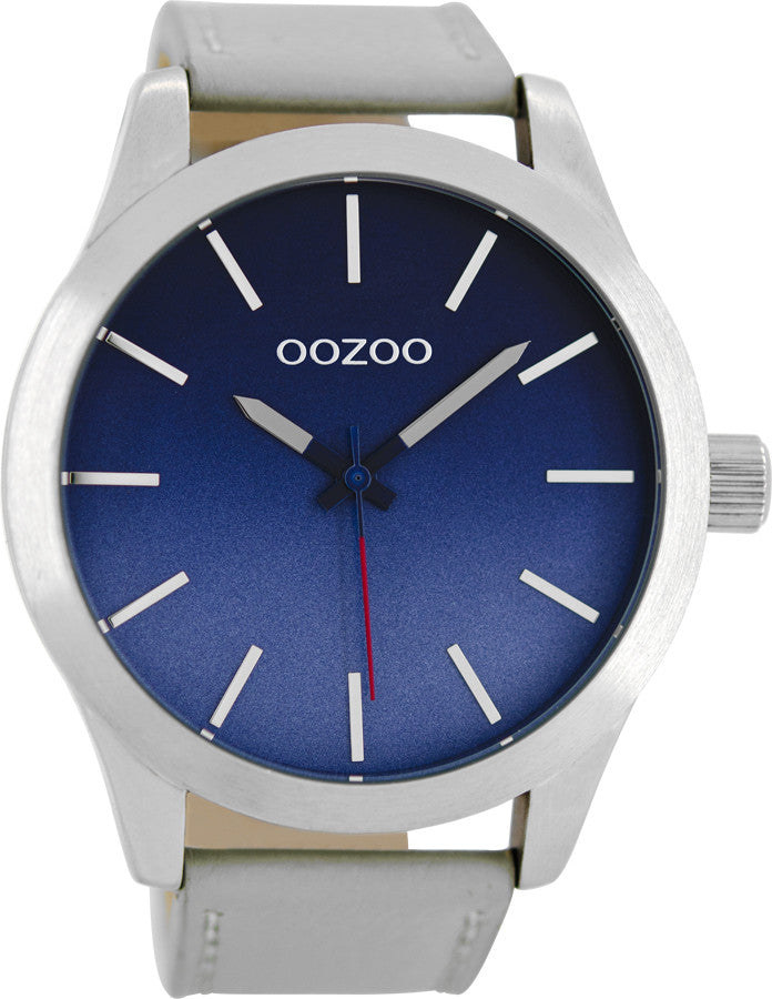 OOZOO Τimepieces light grey Leather Strap C8555