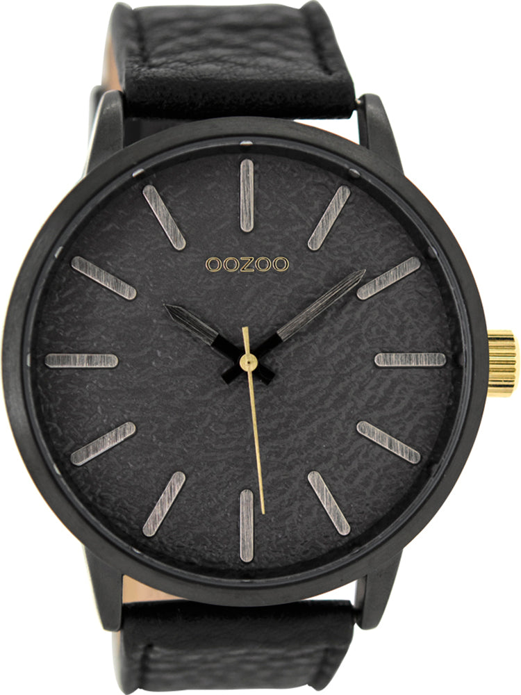 OOZOO Timepieces XXL Black Leather Strap C9028