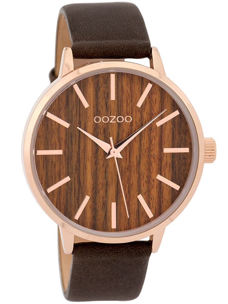 OOZOO Timepieces Cherry Wood Dial Brown Leather Strap C9253