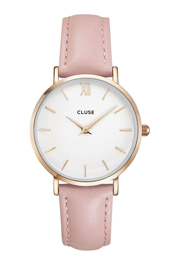 CLUSE MINUIT ROSE GOLD Pink Leather Strap CL30001