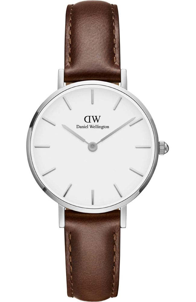 Daniel Wellington Petite St Mawes Silver Brown Leather Strap DW00100243