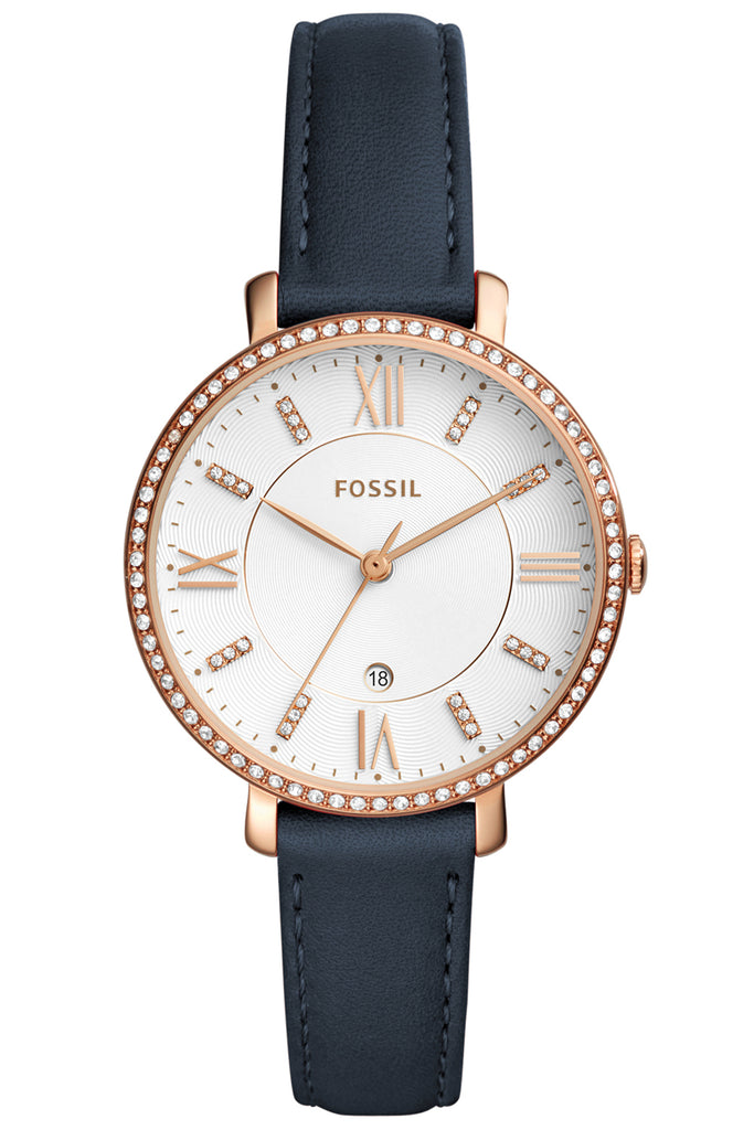 FOSSIL Jacqueline Crystals Rose Gold Blue Leather Strap ES4291