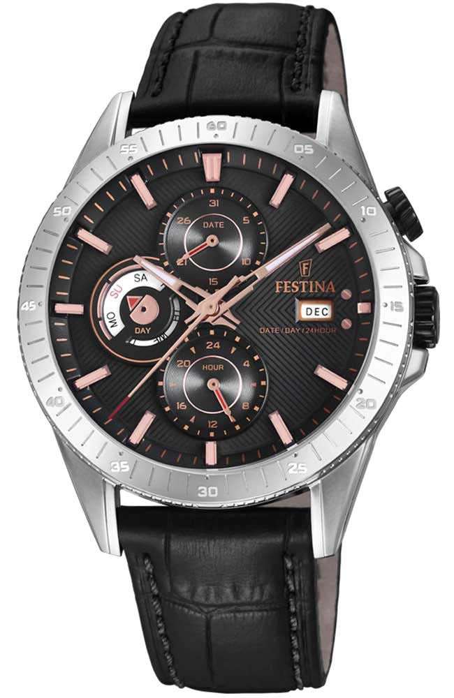 FESTINA Multifunction Black Leather Strap F16990/3