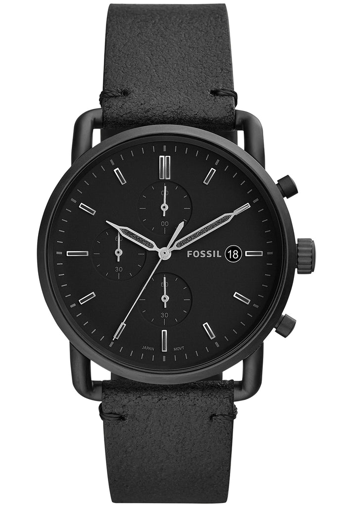 FOSSIL The Commuter Black Leather Strap FS5504