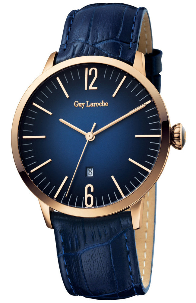 GUY LAROCHE ROSE GOLD BLUE LEATHER STRAP G2016-03