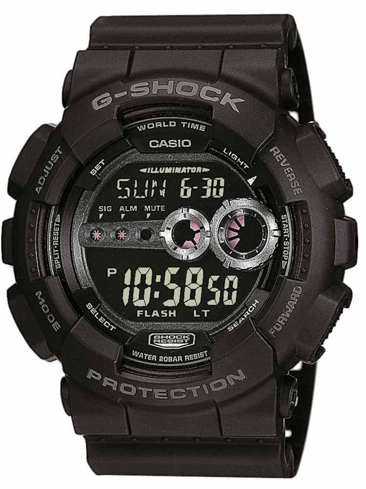 CASIO G-SHOCK Digital Chronograph Black Rubber Strap GD-100-1BER