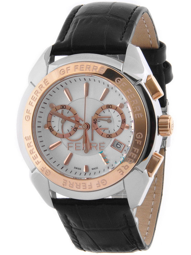 GF FERRE Chronograph Black Leather Strap GFSR3075