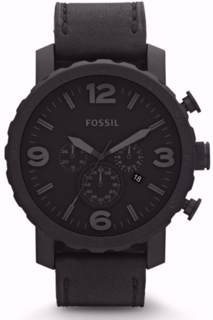 Fossil Nate Chronograph Black Leather Strap JR1354