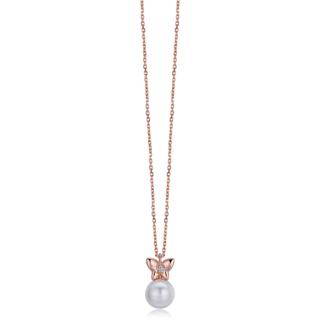 MELITEA GIOIELLI ROSE GOLD PLATED BUTTERFLY PEARL PENDANT MC221