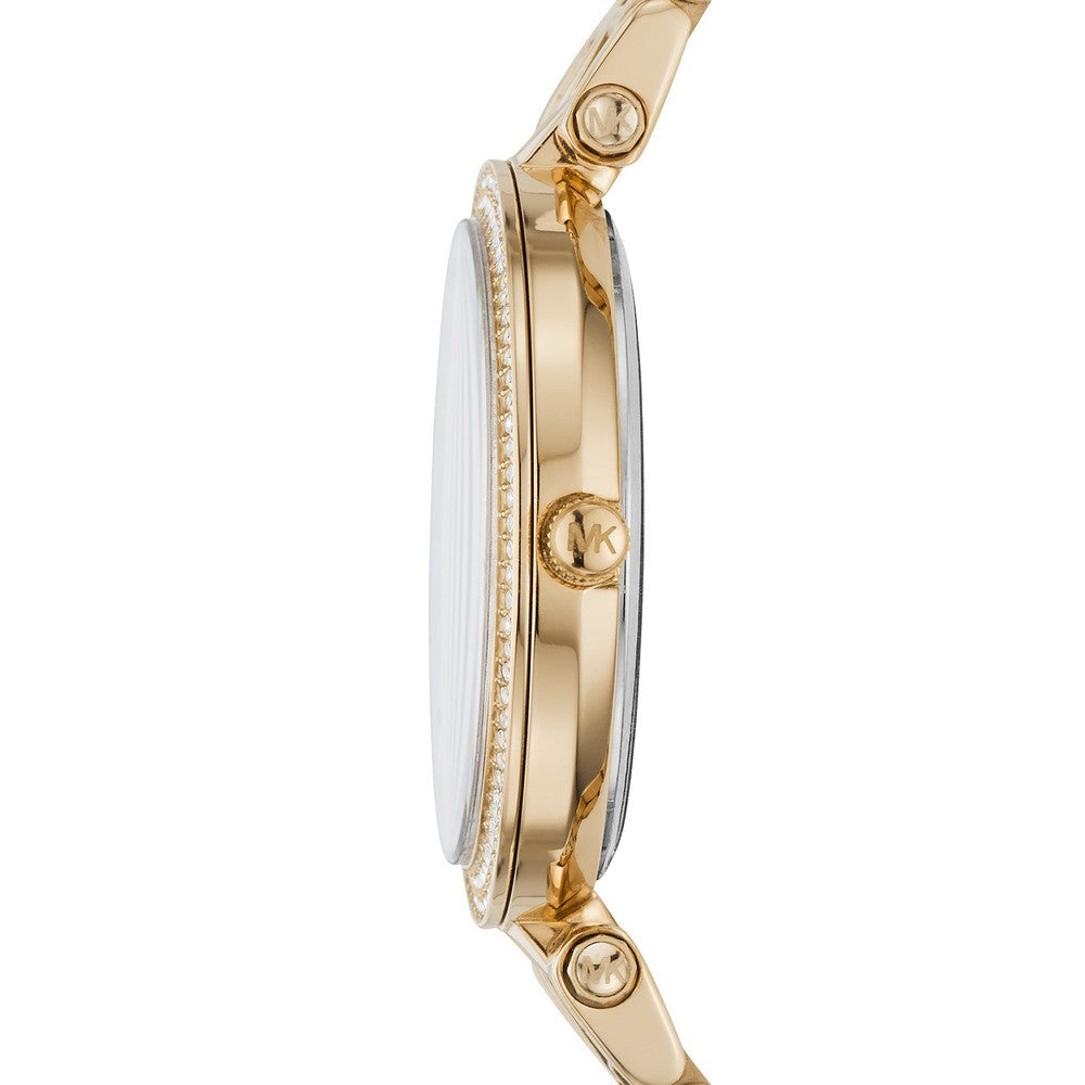 MICHAEL KORS Mini Darci Crystals Three Hands Gold Stainless Steel Bracelet MK3445