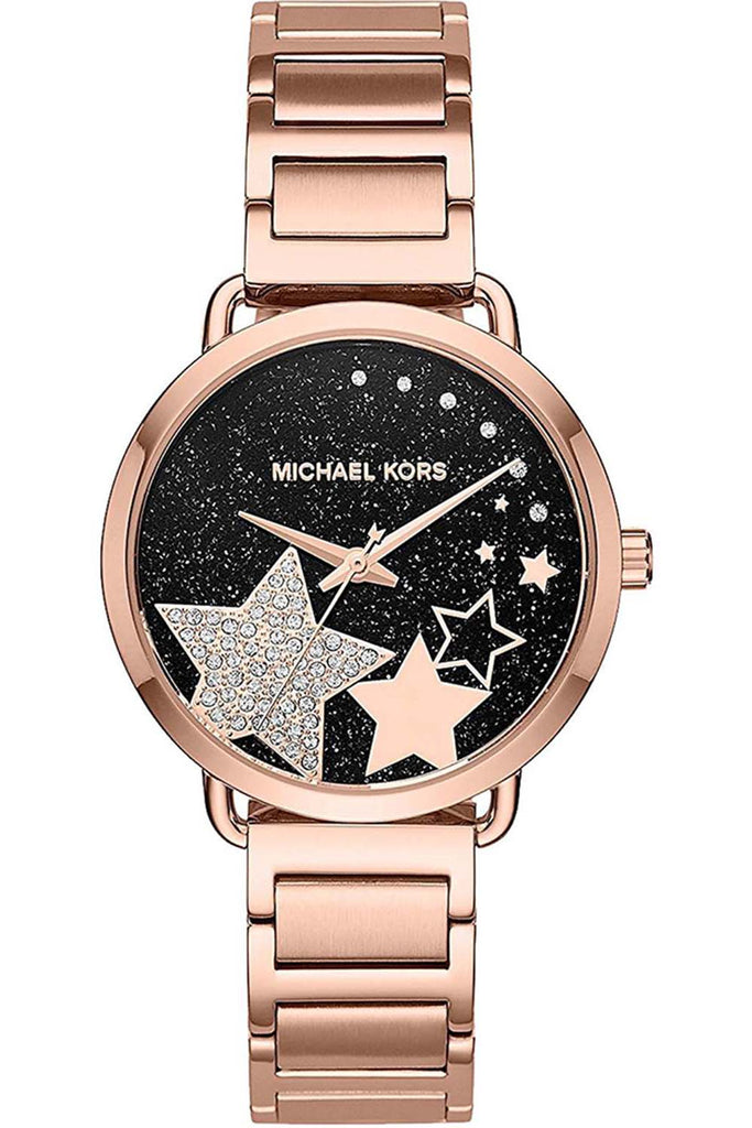 Michael Kors Ladies Portia Crystals Rose Gold Stainless Steel Bracelet MK3795