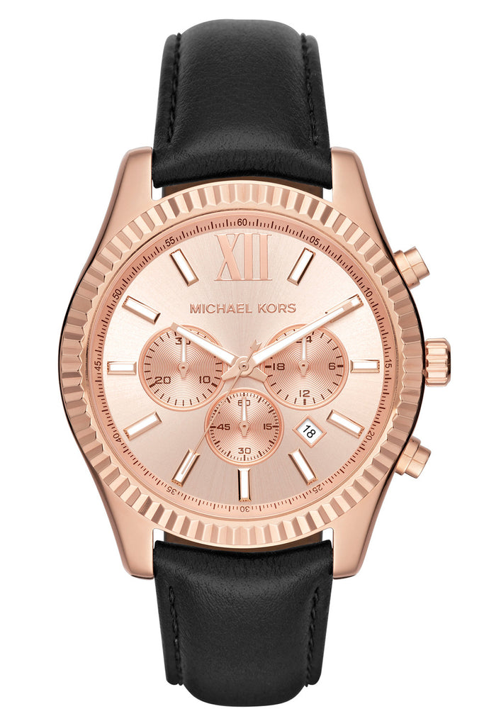 MICHAEL KORS Ladies Rose Gold Black Leather Strap MK8516