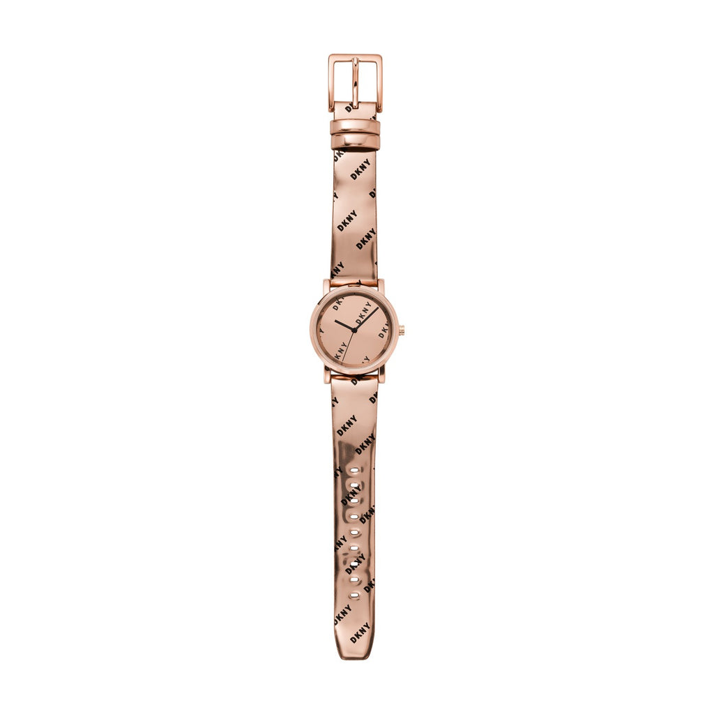 DKNY Soho Rose Gold Leather Strap NY2804