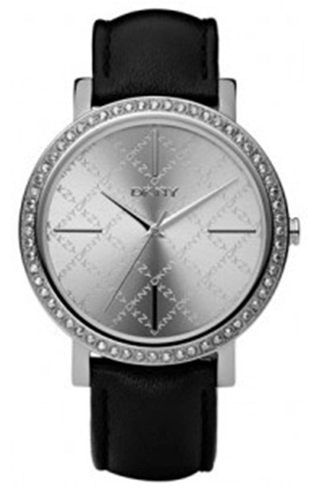 DKNY Women's Black Leather Quartz Watch with Silver Dial NY4959