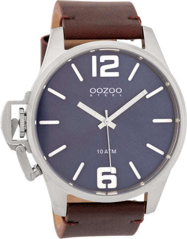 OOZOO Steel Black Leather Strap OSGR09
