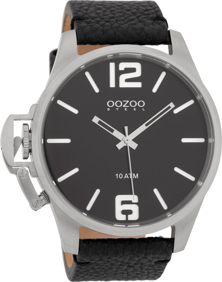 OOZOO Steel Black Leather Strap OSGR15