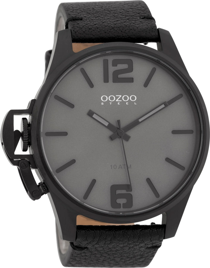 OOZOO Steel Black Leather Strap OSGR17