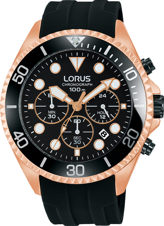 LORUS SPORTS Chronograph Black Rubber Strap RT322GX9
