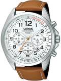 LORUS SPORTS Chronograph Brown Leather Strap RT373CX9