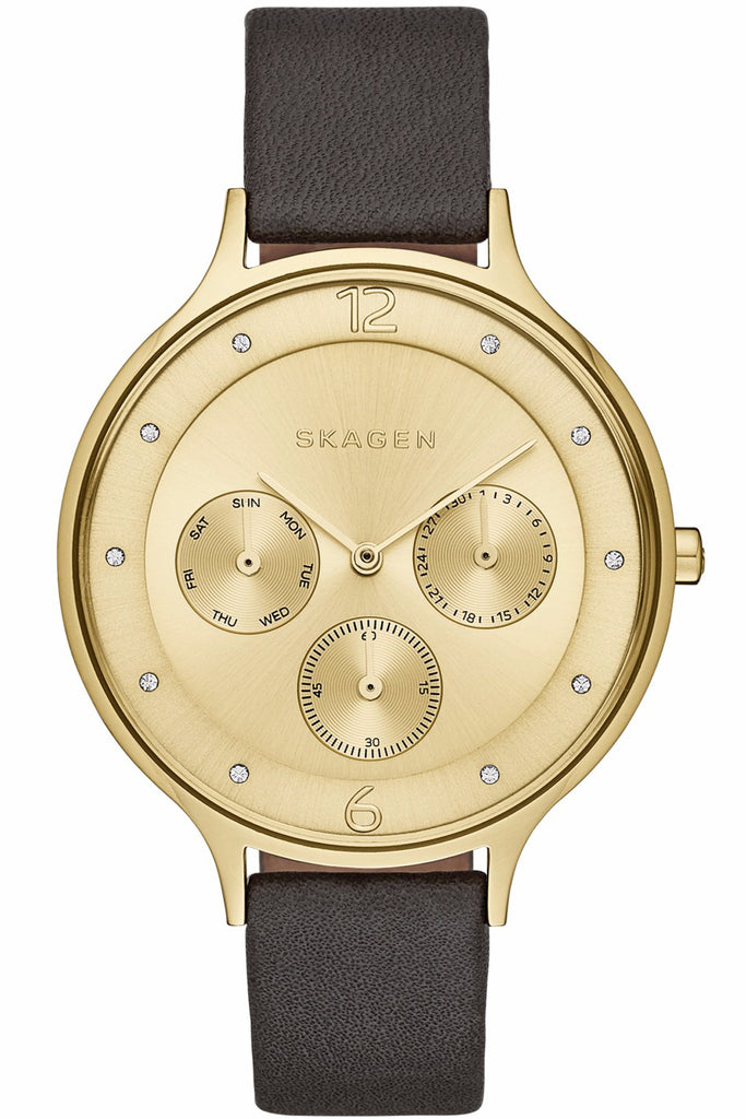 SKAGEN Anita Multifunction Gold Black Leather Strap SKW2393