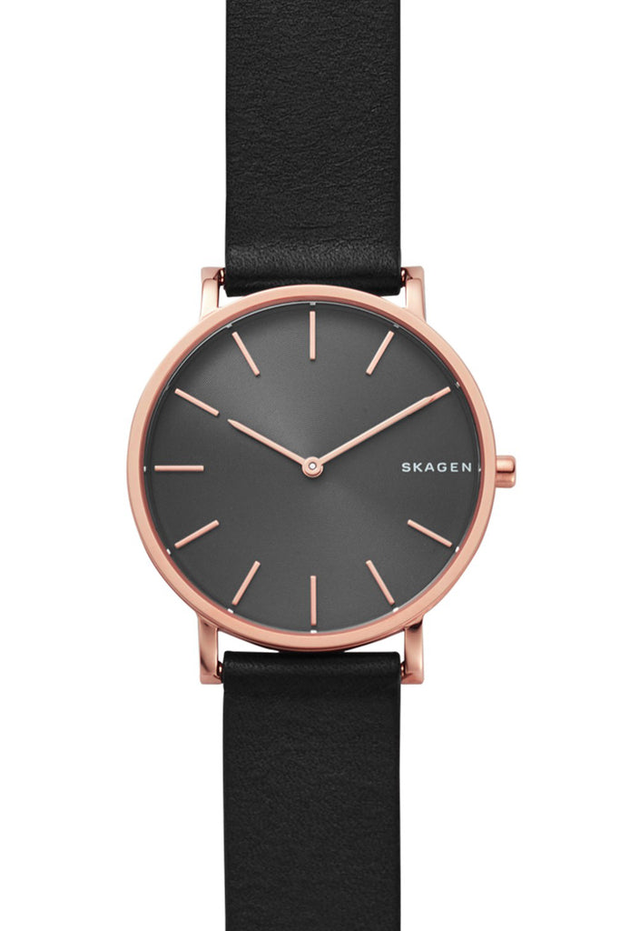SKAGEN Hagen Rose Gold Black Leather Strap SKW6447