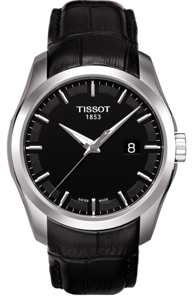 TISSOT COUTURIER Black Leather Strap T0354101605100