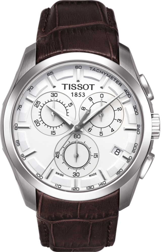 TISSOT COUTURIER Chronograph Brown Leather Strap T0356171603100