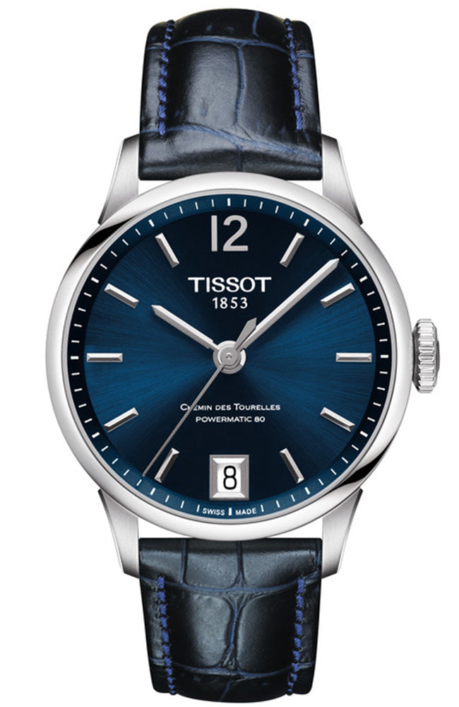 TISSOT Chemin Des Tourelles Powermatic 80 Blue Leather Strap T0992071604700