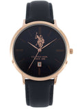 U.S. POLO Rose Gold Blue Leather Strap USP4561BL