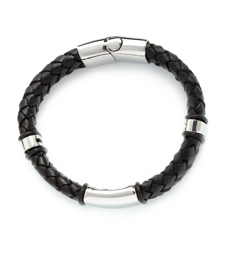US POLO STAINLESS STEEL AND LEATHER BRACELET J914BR
