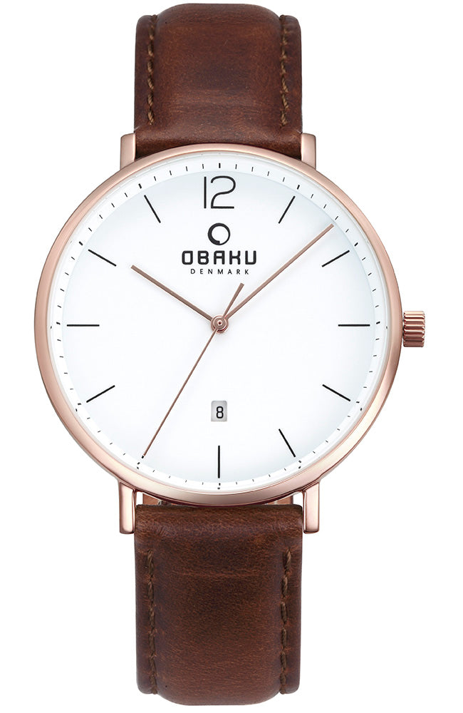 OBAKU DENMARK brown leather strap V181GDVWRN