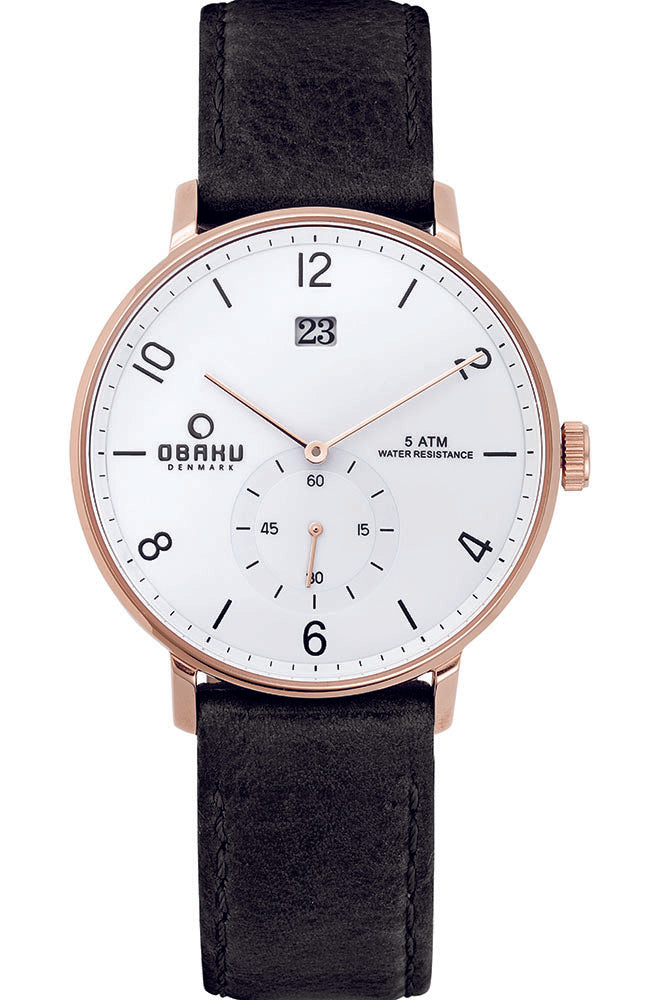 OBAKU DENMARK brown leather strap V190GDVWRB