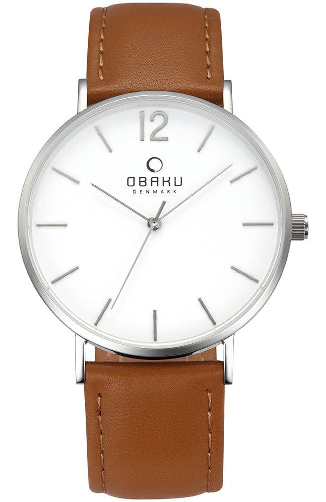 OBAKU DENMARK Brown Leather Strap V197GXCWRN