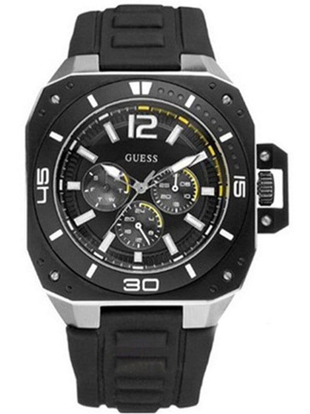 GUESS Stainless Steel Leather Strap W17526G1