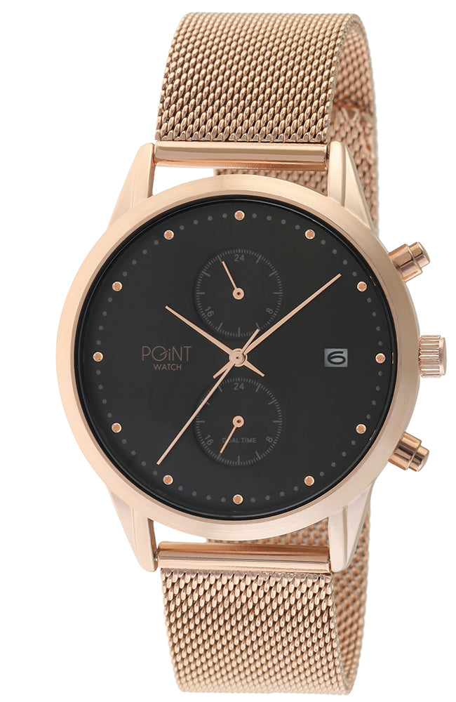 POINTWATCH Zeus Dual Time Rose Gold Stainless Steel Bracelet SK17