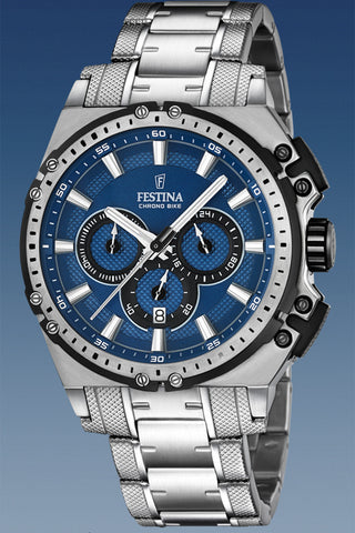 FESTINA Chronograph Black Leather Strap F20344/3