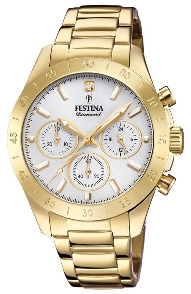 FESTINA Diamond Chronograph Gold Stainless Steel Bracelet F20400/1