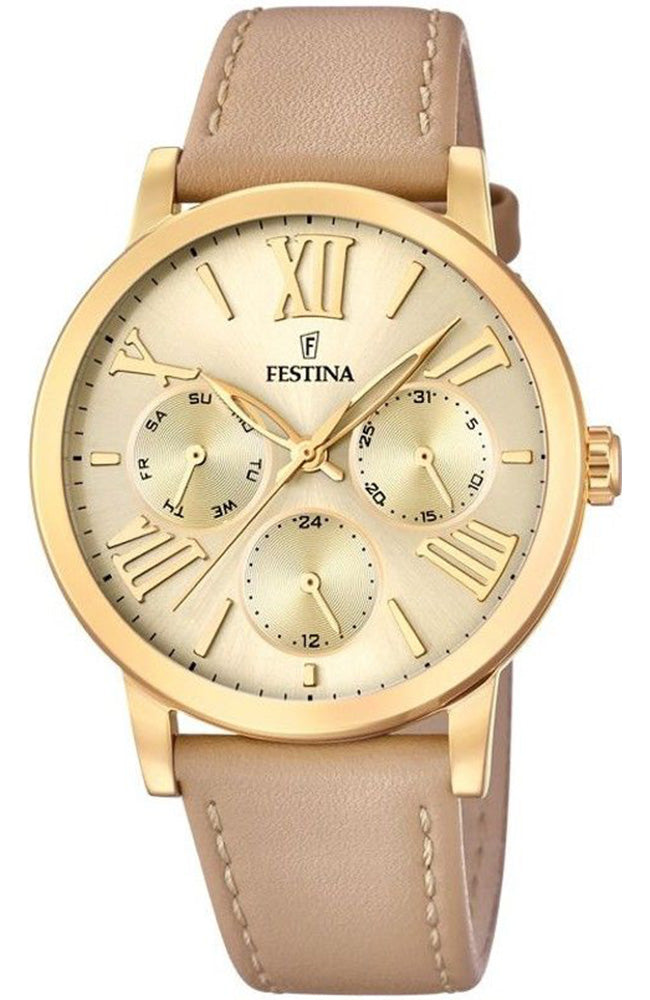 Festina Multifunction Beige Leather Strap F20416/1
