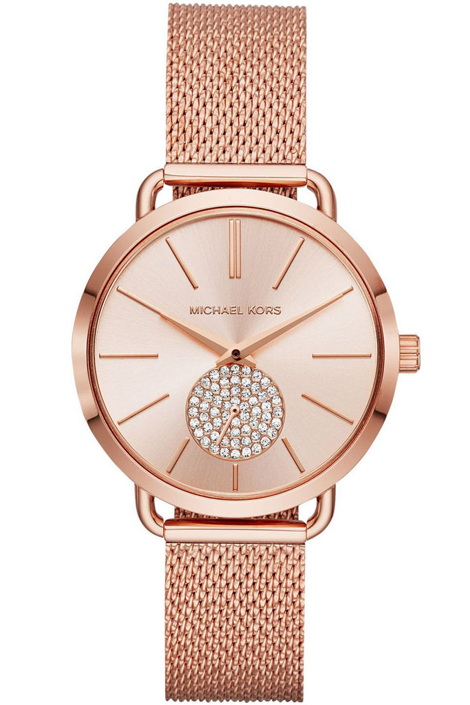 Michael Kors Portia Crystals Rose Gold Stainless Steel Bracelet MK3845