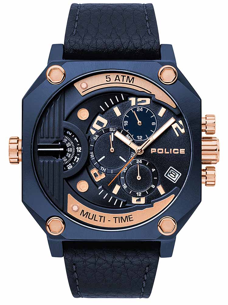 POLICE Furnace Multifunction Blue Leather Strap PL.15385JSBL03