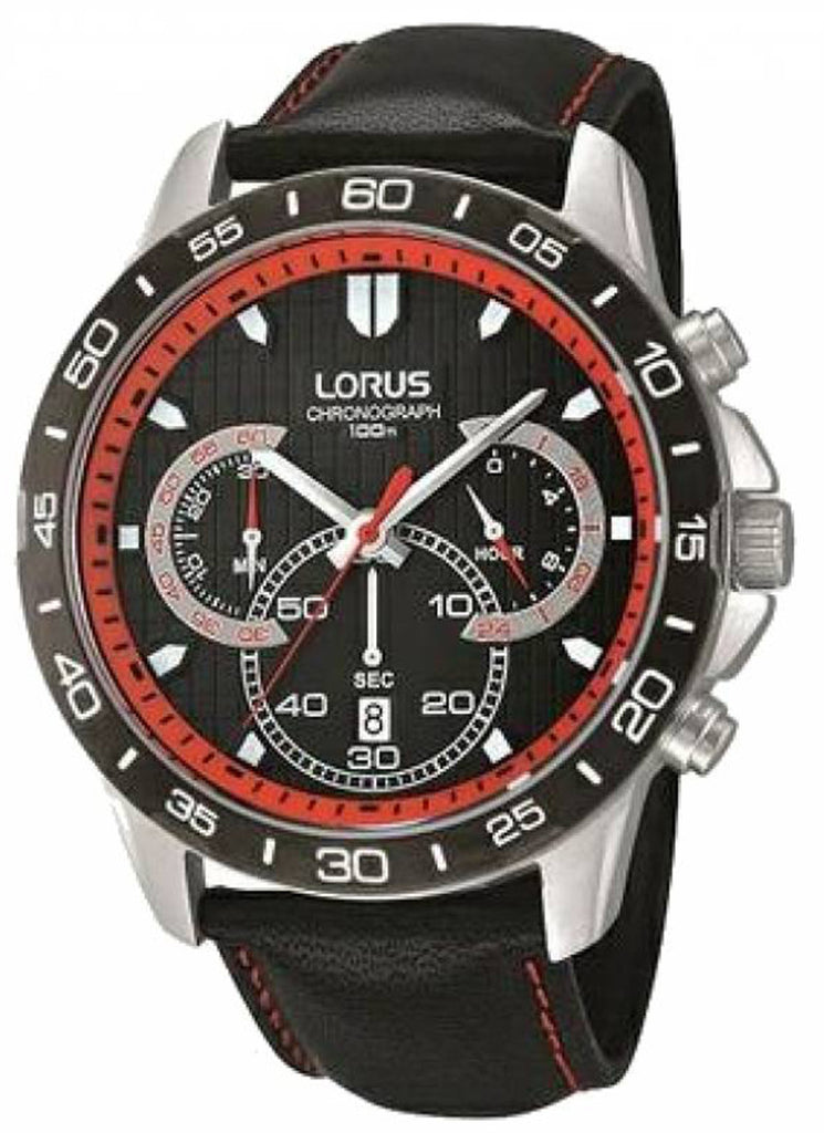 LORUS chronograph black leather strap RT301CX-9