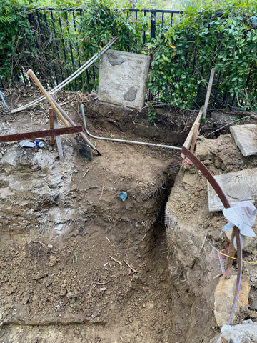 Digging place out for RDF to sit- Randy Tan Koi Pond Build