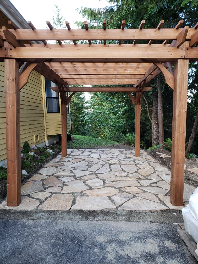 Keven Gravier beautiful Flagstone Patio wth Gazebo for pond build
