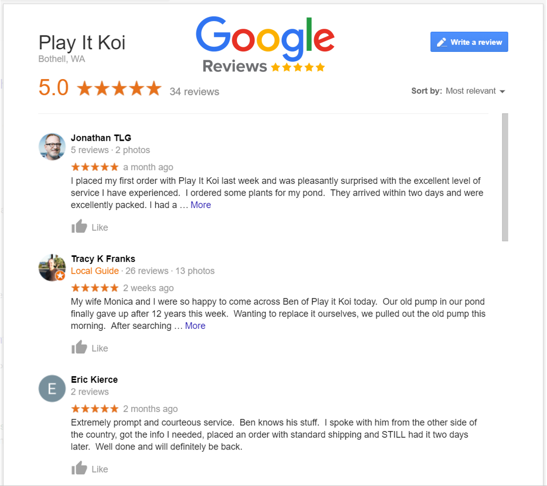 Play It Koi Google Customer Reviews