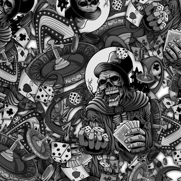 Gambling With Death Skeleton Hydrographic Film