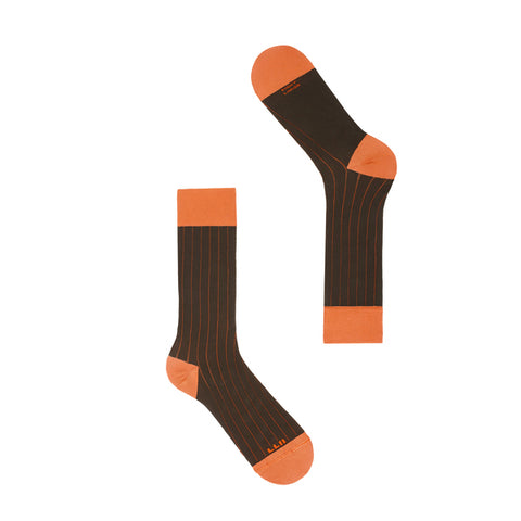 Short Knee High Sock Coffee Tangerine