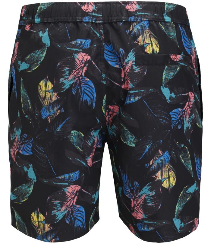 Sylvester Loose Swim Shorts Vibrant Leaves Black Beauty