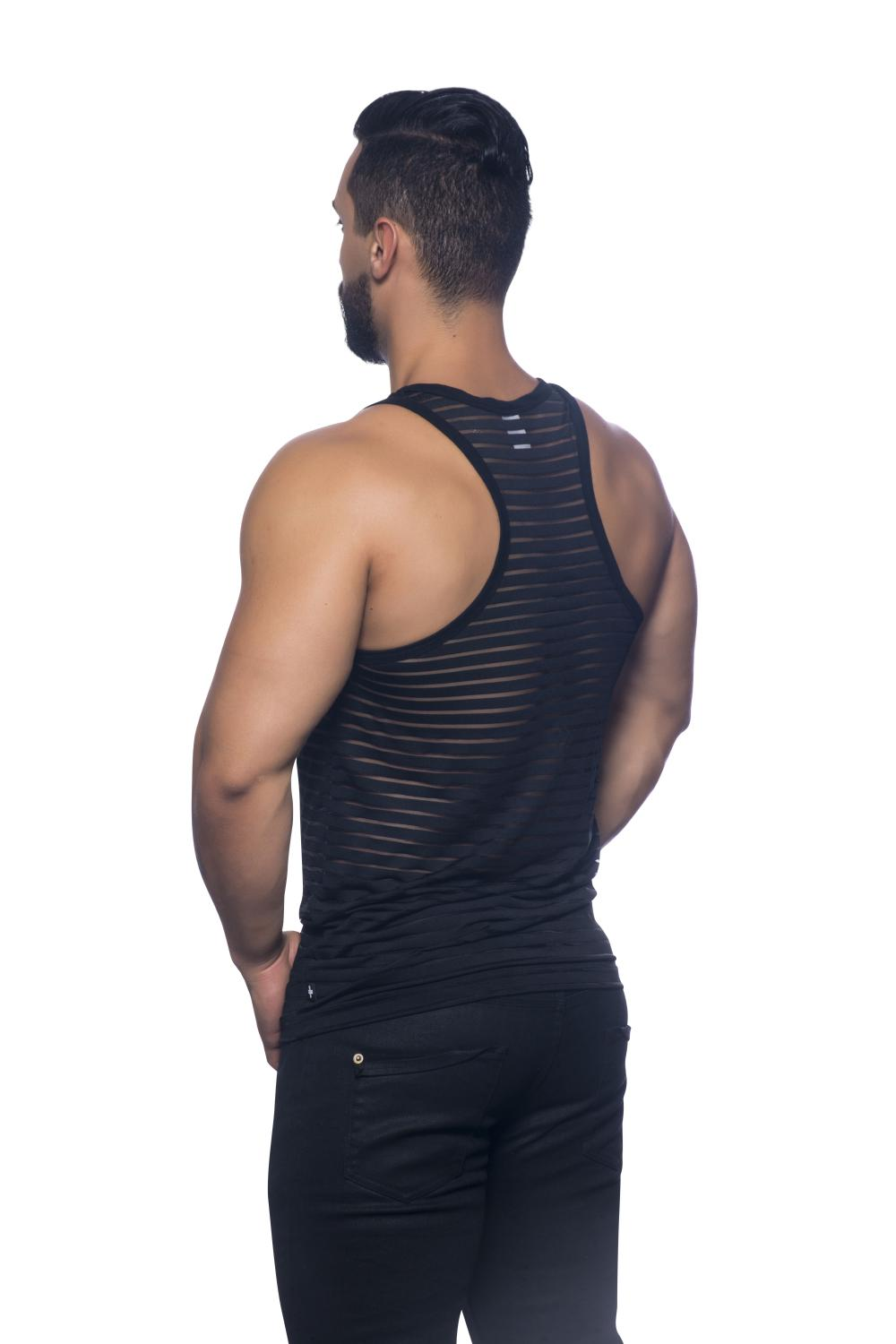Sheer Stripe Racer Back Tank