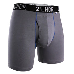 "Swing Shift 6"" Boxer Brief - Grey & Blue"